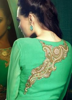 Green georgette long party wear salwar kameez, kameez crafted with zari and stone embroidered aplic cut work patch. Approx top length 53 to 54 inches. Kameez with chiffon dupatta & satoom buttom.