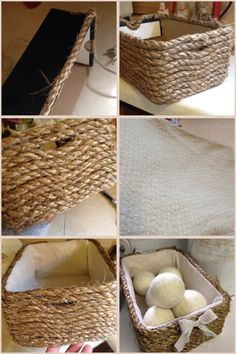 Create your own basket! All you need is a shoe box without the lid, rope, an old baby blanket, and a glue gun. Perfect basket for my homemade wool dryer balls! #homemade #DIY #CoolStuff #Basket #Rope #reuse #home #Laundry #Storage #ILikeMyCuteLilBow :)