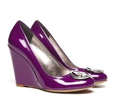 Purple patent covered wedge.
