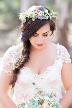 Jack London State Park wedding photographer, succulent flower crown by TréCreative  http://trecreative.com/