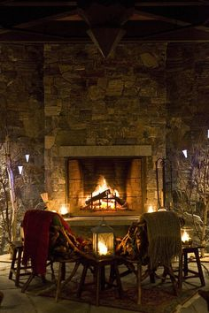 #LoveLakePlacidLodge - a blazing fire, perfect for taking the chill out of the air.
