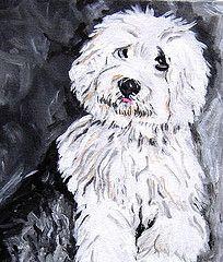 Black Old English Sheepdog | Old English Sheepdog Puppy Painting
