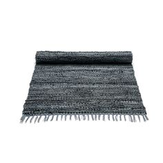 """RUG SOLID LEATHER RUG - 65 X 135 CM, 65€, DARK GREY 10203 - Ecosto verkkokauppa"" Or this one..."