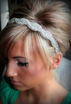 Rhinestone Headband AMARA wedding headband hair by BrassLotus
