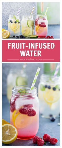 Fruit infused water recipes bursting with flavor and the perfect way to stay hydrated. Fruit water is so easy make and the perfect way to make sure you are drinking enough water every day. Kids love these fruit water recipes too! Fruit Water Recipes, Flavored Water Recipes, Fruit Infused Water, Fruit Drinks, Detox Drinks, Infused Waters, Beverages, Detox Juices, Water With Fruit