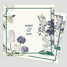 Simple and elegant Wedding invitation with old styled flowers illustration, modern typography. We personalize our design with your colors, texts and photos.