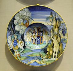 Plate depicting the story of Perseus and Andromeda from the Isabella dEste service Italian (Urbino), Renaissance, about 1524 Painted by- Nicola da Urbino, Italian, active by 1520, died in 1537–38 Tin-glazed earthenware (maiolica)