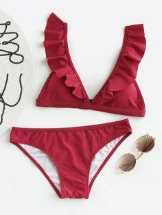 fa170c6dac7724 Shop Ruffle Detail Adjustable Strap Bikini Set online. SheIn offers Ruffle  Detail Adjustable Strap Bikini
