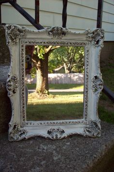 Vintage Turner Wall Mirror/ Ornate Shabby Cottage chic Mirror hand painted antique white with bronze highlights/ Wall Decor by UpcycledCottageDecor on Etsy