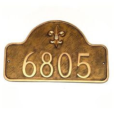 Montague Metal Products Fleur de Lis One Line Arch Standard Address Plaque Finish: Aged Bronze / Gold, Mounting: Wall