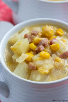Crockpot Corn Chowder from www.tablefortwoblog.com