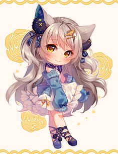 [+Video] Commission - Bunbun Chibi by Hyanna-Natsu on DeviantArt Manga Kawaii, Kawaii Chibi, Kawaii Art, Kawaii Anime Girl, Chibi Girl Drawings, Cute Kawaii Drawings, Cute Animal Drawings, Dibujos Anime Chibi, Cute Anime Chibi