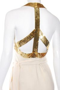 Vtg 80s Franco MOSCHINO COUTURE! Backless Gold Sequin PEACE SIGN Wrap Dress ....