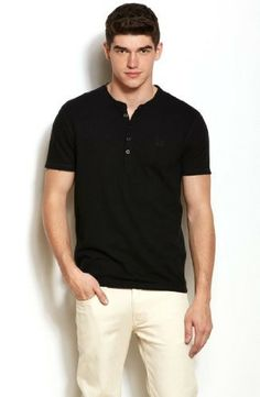 Armani Exchange Mens Linen Blend Henley