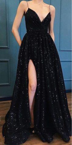 Shining Spaghetti Straps V-Neck Long High Split Black Prom Dress, - 2020 New Prom Dresses Fashion - Fashion Of The Year Sparkly Prom Dresses, Pretty Prom Dresses, Prom Party Dresses, Dance Dresses, Ball Dresses, Cheap Dresses, Occasion Dresses, Wedding Dresses, Dress Prom
