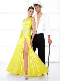 A-line One Shoulder Elastic Woven Satin Sweep Train Daffodil Beading Prom Dresses