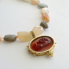 Recumbent Lion Glass Italian Intaglio Multi Moonstone Nuggets Choker Necklace - Lazise Necklace from Karen Sugarman Designs on Ruby Lane