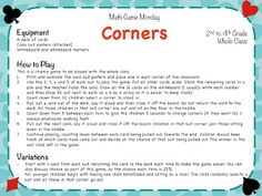 How to play Corners - a great Chance Game perfect for 2nd to 4th Grade! Free download