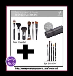 if you buy the face brush set plus the eye brush set you can receive the leather brush roll worth £35 GBP FREE . another idea how you can get this months customer kudos  #younique #makeup #skincare #beauty #england #spain #usa #canada