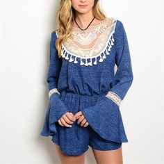 Bell Sleeve Romper - NEW✨ This Bell Sleeve Romper features long bell sleeves, a crochet yoke, and an elastic waist to give it a blouse-like fit. This romper is perfect for summer festivals paired with ankle boots or sandals.  100% Rayon  Made in the USA Other