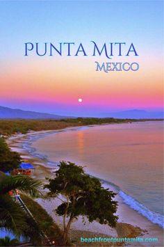 Moonrise, view from balcony. Beachfront Punta Mita Condo. 35 minute drive from Puerto vallarta.