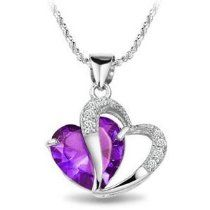 Rhodium Plated 925 Sterling Silver Diamond Accent Amethyst Heart Shape Pendant Necklace