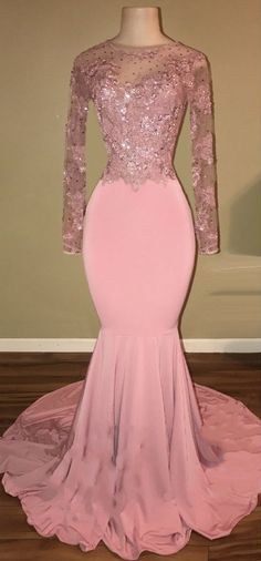 Shiny Pink Backless Beaded Long Sleeves Mermaid Prom Dresses_Sexy Pink Prom Gowns