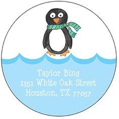 Winter Penguin Round Address Labels