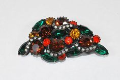 Japanned Rhinestone Brooch Autumn Brooch by CommonCentsThrift