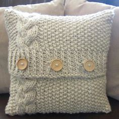 Cable knit pillow cover pattern, knit pattern pdf, Braided Cable super chunky 16 x 16 pillow cover - PDF KNITTING PATTERN, Knitted Cushion Pattern, Knitted Cushion Covers, Cushion Cover Pattern, Knitted Cushions, Crochet Pillow Covers, Crochet Blankets, Sweater Pillow, Knit Pillow, Cotton Sweater