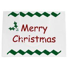 Merry Christmas Simple Festive Design Large Gift Bag