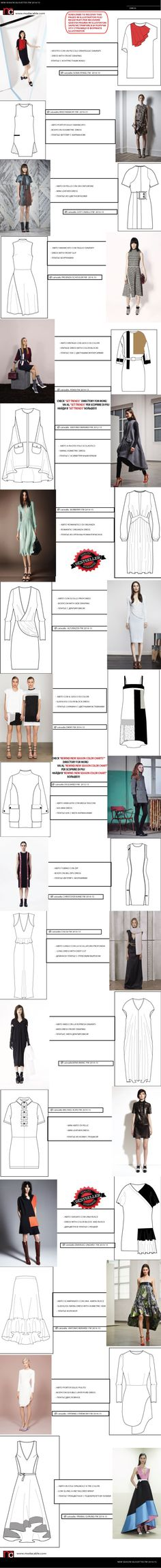 New Season Silhouettes FW Flat Drawings, Flat Sketches, Technical Drawings, Fashion Sketchbook, Fashion Sketches, Fashion Illustrations, Drawing Fashion, Clothing Patterns, Dress Patterns