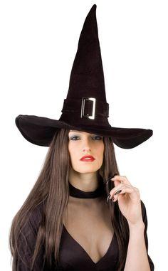 Chapeau sorcière velours halloween adulte : Ce magnifique chapeau de sorcière à effet velours est pour adulte.Cet accessoire complétera parfaitement votre déguisement de sorcière pour Halloween.