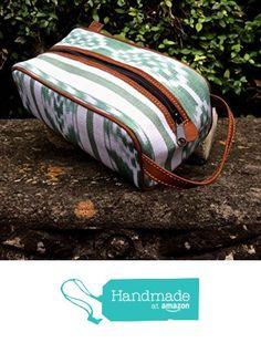 Green and White Ikat Dopp Fabrics Guatemalan Textiles, Dopp Kit, Leather Handle, Ikat, Fresco, Suede Leather, Fabrics, Purses, Amazon