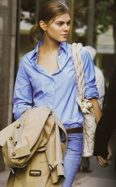 blue blue blue - maybe with a tan leather bag/belt