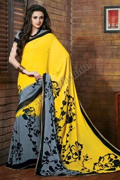"""Price: £39.00, In stock, Design No. DMV7211, Quick Overview:- Andaaz Fashion new arrival Saree and Blouse are now in store like Grey Yellow Art Silk Bhagalpuri Saree with Blouse Embellish with Dots, SLEEVES LENGTH IS 3""""., Chinese Collar Blouse, Short Sleeve Blouse and with Printed Pallu. These designs are perfect for Party,Wedding,Festival,Casual. For More Details Visit @ http://www.andaazfashion.co.uk/womens/sarees/grey-yellow-art-silk-bhagalpuri-saree-with-blouse-dmv7211.html"""
