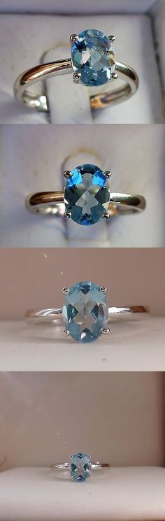 Gemstone 164343: 1Ct Natural Blue Aquamarine Solitaire Promise Ring Band 10K White Gold Size 7 -> BUY IT NOW ONLY: $144.95 on eBay!