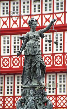 """Themis, Goddess of Justice. """"Fountain of Justice"""", Roemer Square, Frankfurt am Main, Germany"""