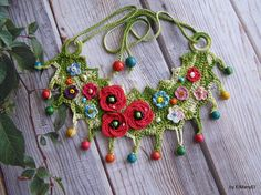 Crochet necklace with wildflowers   For Her   Gift idea   Ornament   Necklace