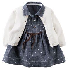 2-Piece Chambray Shirt Dress & Sweater Set