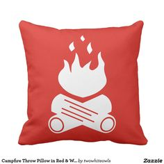 Campfire Throw Pillow in Red & White