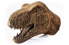 Laser Cut Cardboard Model of a T-Rex Head from Epilog. Includes the free file and instructions.