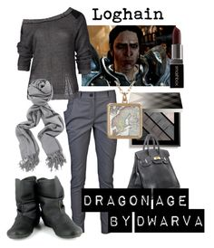 """Dragon Age - Loghain"" by dwarva ❤ liked on Polyvore featuring Vivienne Westwood Anglomania, Sabatini, Burberry, Hermès, Vegetarian Shoes and Smashbox"