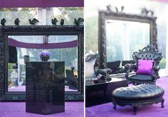 Breeders' Cup Halloween Party | Black Glitter Skulls | Purple Daisies | Acrylic Chandelier | Spiders | Black Crows | Prague Furniture | Lucite Tables
