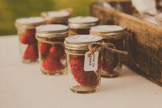 strawberries in jars as favors