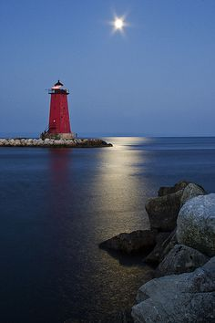 Manistique Lighthouse Moon Glow | Manistique, MI by Pure Michigan