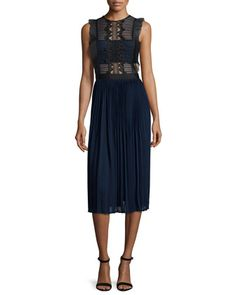 Sleeveless+Lace+&+Pleated+Chiffon+Dress,+Navy/Gray+by+Self+Portrait+at+Neiman+Marcus.