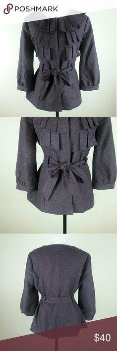 Anthro Tabitha Foliage Finder Ruffle Jacket 12 Excellent used condition. Warm, unique, and stylish! Anthropologie Jackets & Coats