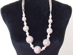 collana uncinetto sfere perle fatta a mano di maglieriamagica, €35.40