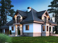 Projekt domu Śnieżka K 2G 139,21 m2 - koszt budowy 255 tys. zł - EXTRADOM Beautiful House Plans, Beautiful Homes, Home Building Design, Building A House, House Outside Design, House Design, Harrison House, Affordable Housing, Home Fashion